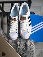 Мужские кроссовки белые Adidas Superstar White Black