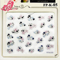 Самоклеющиеся Наклейки для Ногтей 3D Nail Sticrer FP-К-05 Жемчужно Розовые Цветы и Голубые Бантики с Камушками