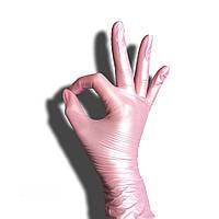 Розовые Перламутровые нитриловые перчатки (Perl) XS