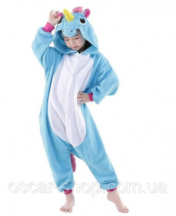 Дитяче кигуруми Єдиноріг (блакитний) 120 см / піжама Кигуруми 120 см