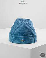 Теплая осення/зимняя шапка лакост/Lacoste с крокодилом
