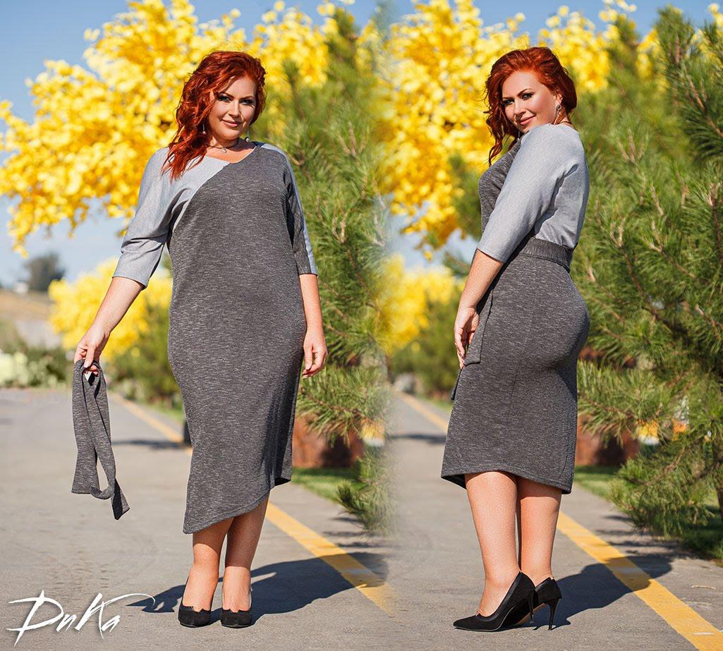 Платье футляр женское, большого размера, повседневное, трикотажное, офисное, комбинированное, до 56 р-ра, фото 1