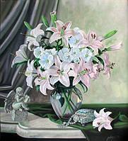 Картины художников. Живопись маслом натюрморт Нежные лилии