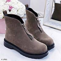 Женские зимние ботинки коричневые/ хаки эко-замша спереди молния