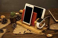 Деревянный офисный органайзер аксессуар iPhone Family корпоративный подарок с персонализацией директору боссу