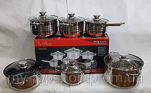 Набір посуду UNIQUE UN-5036 з нержавіючої сталі 12 предметів