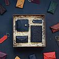 """Мужской подарочный набор кожаных аксессуаров """"Leon"""": зажим для денег, обложка на паспорт, визитница и брелок, фото 6"""