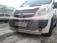 Защита переднего бампера (двойной ус/губа) Opel vivaro (опель виваро 2001+)