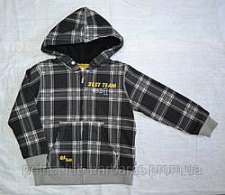 Кофта утеплена для хлопчика на блискавці з капюшоном чорна р. 110-140 см (QuadriFoglio, Польща)