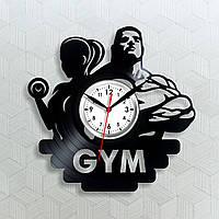 Gym Часы в спортзал Настенные цитаты Тренажерный зал Виниловые часы Часы с гантелями Спорт часы Фитнес 30 см