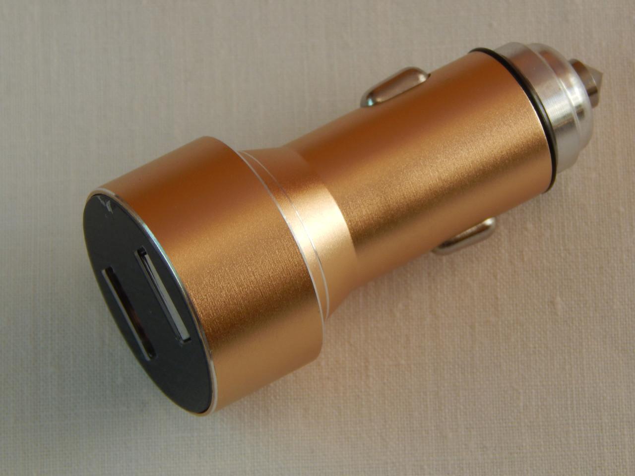 Пристрій зарядний, автомобільний ZIRY Intelligent Chargent USB 1А+2,1А з індикацією, золото