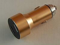Пристрій зарядний, автомобільний ZIRY Intelligent Chargent USB 1А+2,1А з індикацією, золото, фото 1