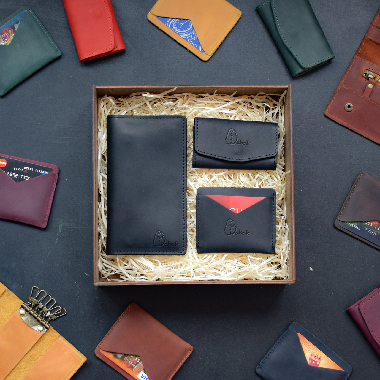 """Подарунковий набір шкіряних аксесуарів """"Avila"""": портмоне, ключниця і візитниця"""