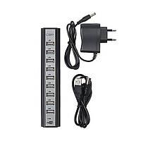 Разветлитель USB HUB 10 PORTS 220V, USB-хаб c блоком питания, фото 1