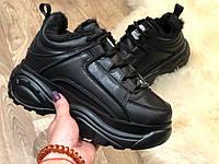 Buffalo зимние женские кроссовки, цвет-чёрный, размеры 36-40