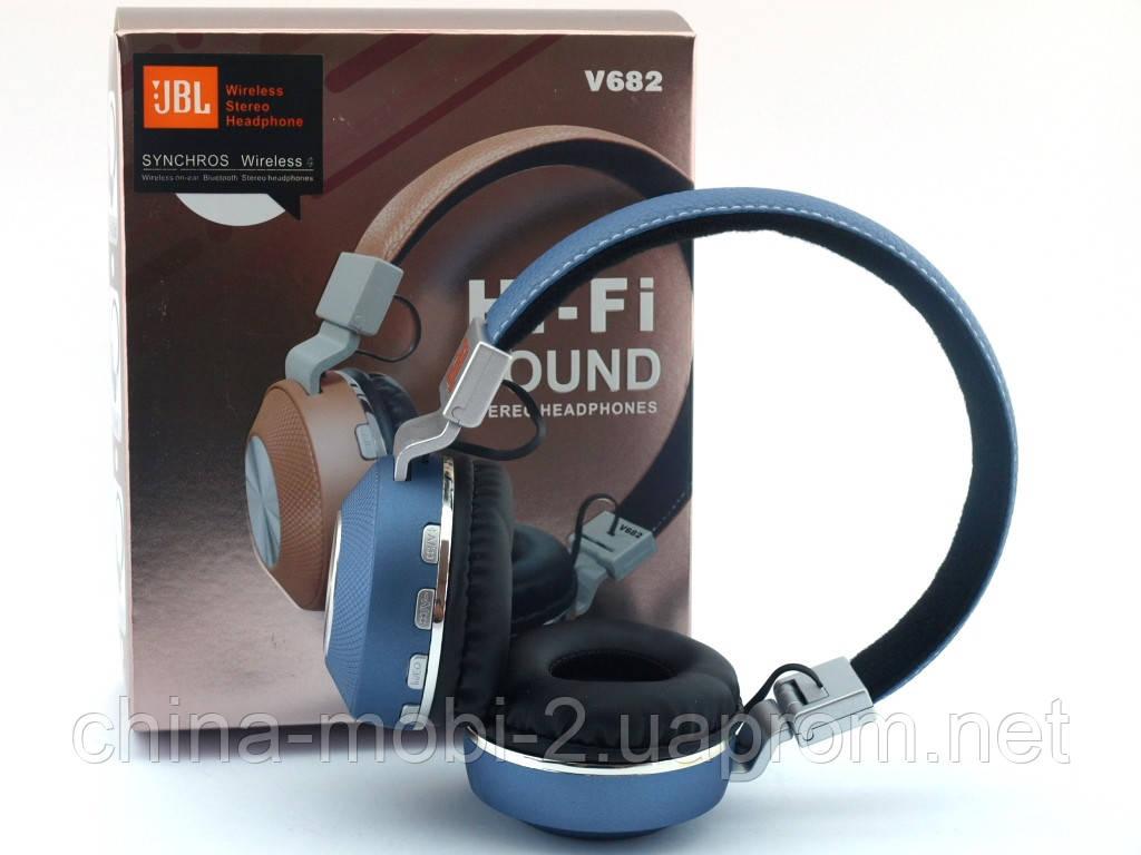 JBL V682 Headset копия, bluetooth наушники с FM MP3, голубые