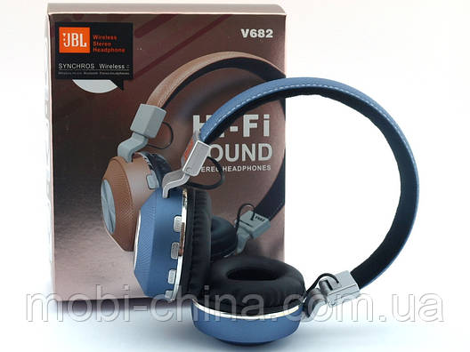 JBL V682 Headset копия, bluetooth наушники с FM MP3, голубые, фото 2