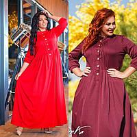 Платье халат женское большого размера, повседневное, стильное, на пуговицах, в пол, свободное, до 60 р-ра