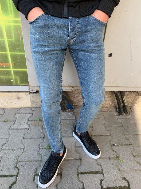 Мужские зауженные джинсы (голубые) - Турция