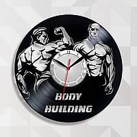 Бодибилдинг часы Часы в тренажерный зал Часы с винила Часы с изображением Часы cпорт Bodybuilding 30 см