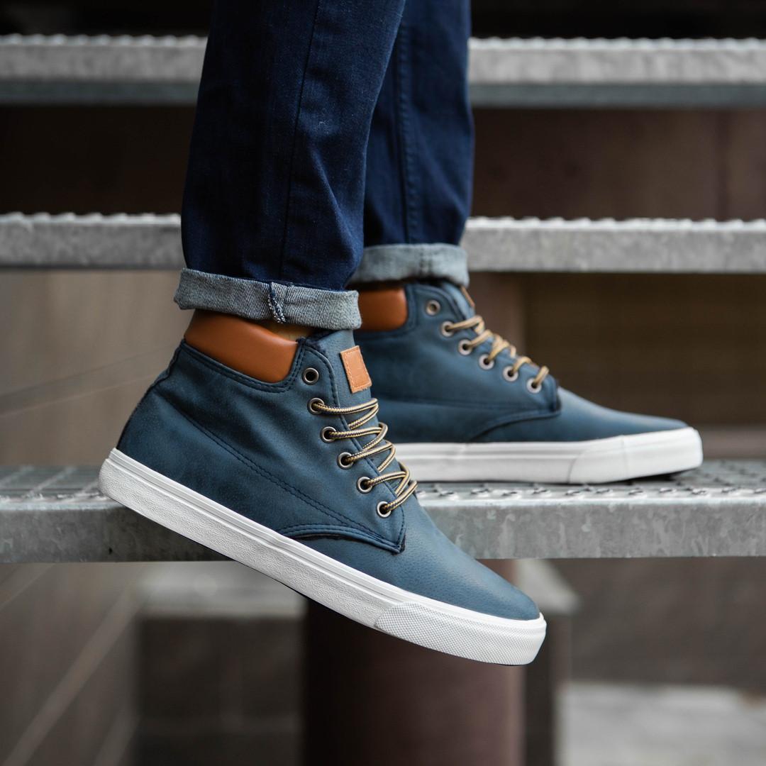 Мужские кроссовки зимние высокие утепленые, синие на белой подошве