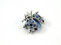Брошь Кошачий глаз Божья коровка голубая, Изысканная брошь из натурального камня, красивые украшения