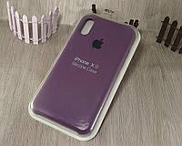 Оригинальный силиконовый чехол для Apple iPhone X / Xs фиолетовый (марсала) 43 color