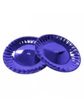 Тарелка одноразовая Ю d=20,5см синяя стекловидная 10шт Укр.