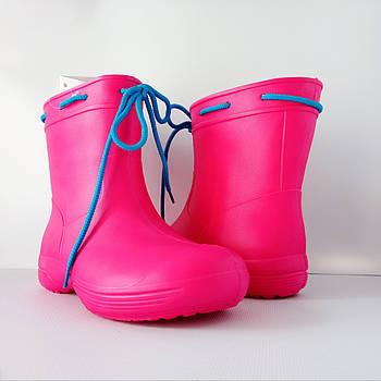 Розовые сапоги из пены ЭВА на слякоть и дождь р. 38, 39, 40, 41 Резиновые сапоги. Аналог Crocs