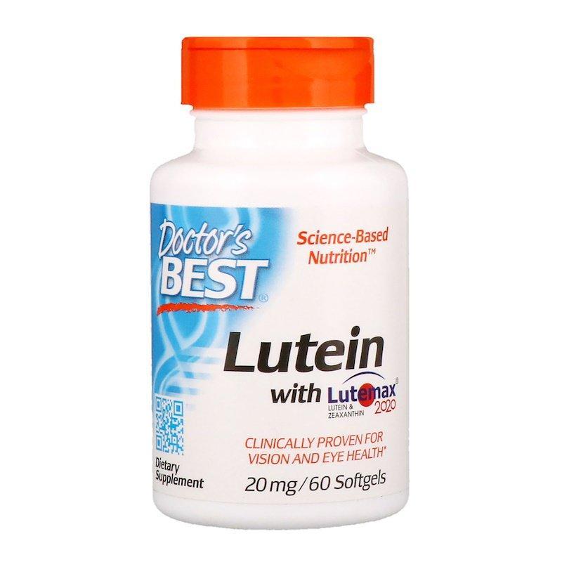 "Лютеин и зеаксантин Doctor's Best ""Lutein with Lutemax 2020"" здоровье глаз, 20 мг (60 гелевых капсул)"