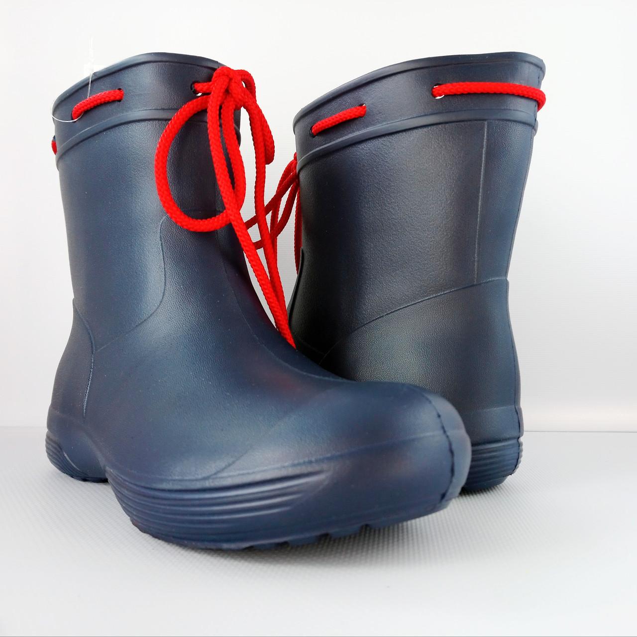 Синие сапоги на слякоть и дождь р. 36,37,38, 39, 40, 41 Резиновые сапоги. Аналог Crocs, сделано в Украине.