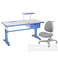 Комплект подростковая парта для школы Ballare Blue + ортопедическое кресло Bello I Grey FunDesk