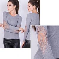Женский свитер о сеточкой на локтях 42-46 (в расцветках)
