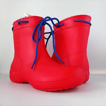 Аналог Crocs, красные сапоги на слякоть и дождь р. 39, 41. Резиновые сапоги.