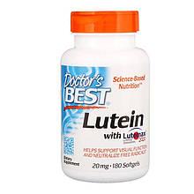 "Лютеин и зеаксантин Doctor's Best ""Lutein with Lutemax 2020"" здоровье глаз, 20 мг (180 гелевых капсул)"