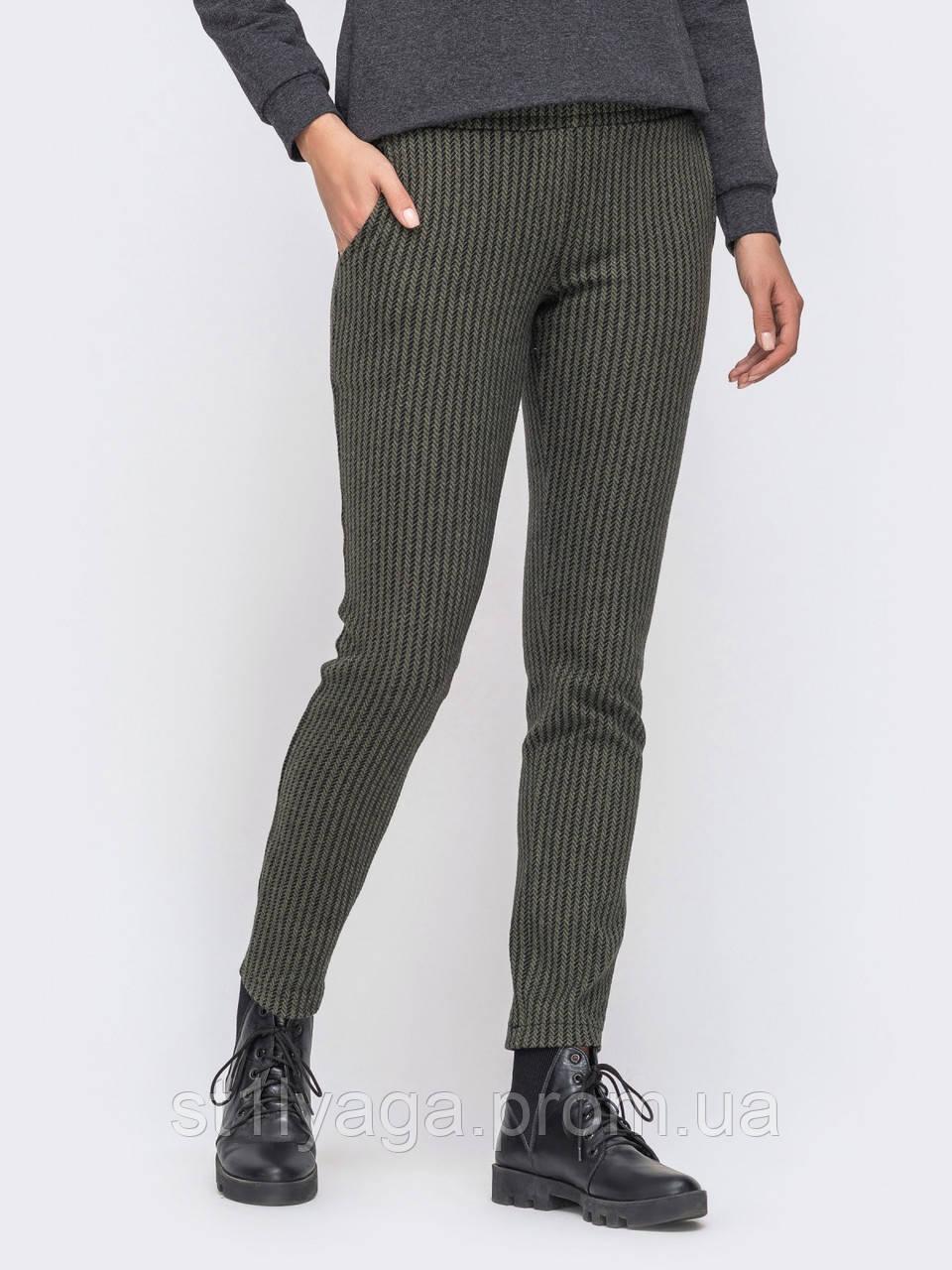 Теплые брюки из плотного жаккарда с удобными карманами по бокам