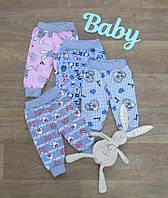 Ясельные штаны на евро резинке цветные, начес,штанишки для новорожденных,Полтавский трикотаж