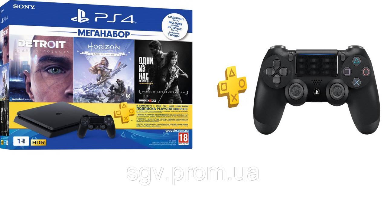 PlayStation 4 Slim 1Tb Rus Black Bundle + 3 Игры Хита + PS Plus 3 мес + Dualshock V2 геймпад