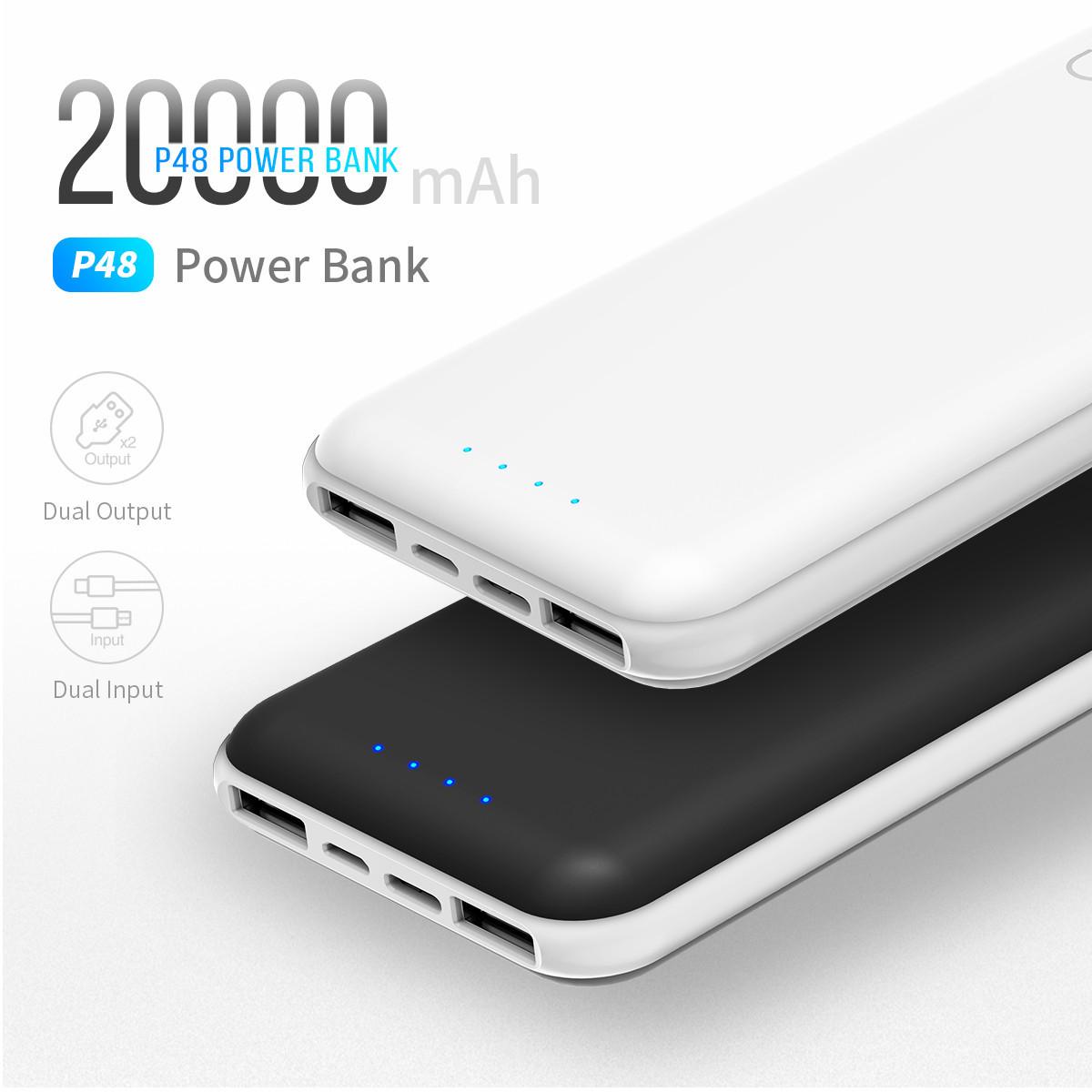Power Bank Rock 20000mAh. Реальная емкость! Портативное зарядное устройство. Белый