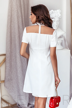 Демисезонное платье мини с отрезной талией и рубашечным воротником цвет белый, фото 2