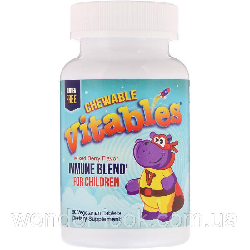 Vitables, Детская жевательная добавка для укрепления иммунитета, ягодный микс, 90 вегетарианских таблеток