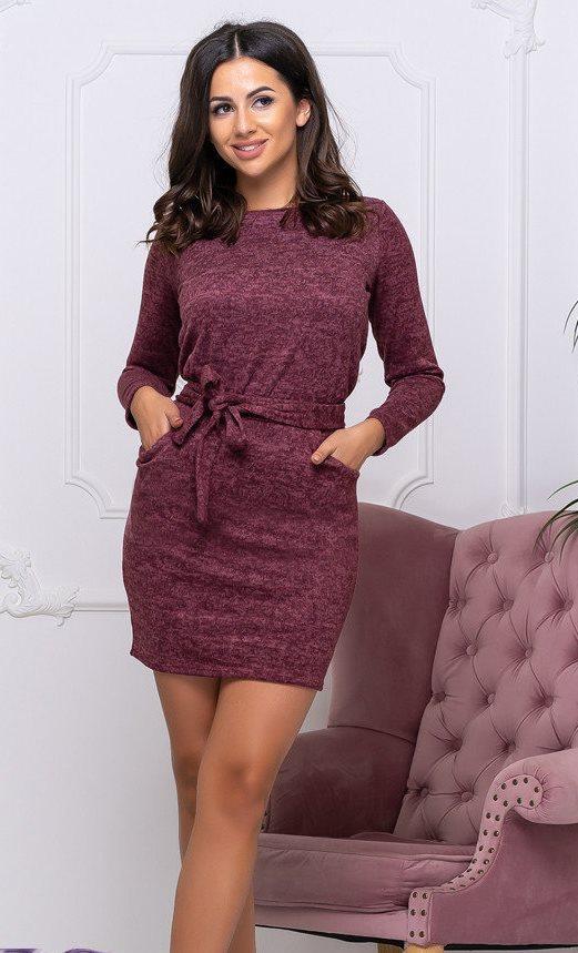 Платье теплое с поясом р.50-52