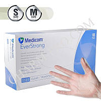 Перчатки виниловые Medicom Ever Strong прозрачные (100 шт/Размер S,M)