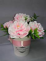 """Подарочный букет  мыльных цветов """"Розовые пионы"""""""