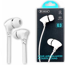 """Навушники """"Celebrat G3"""" з мікрофоном силікон плосский провід, білий"""