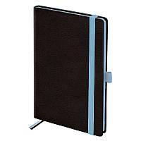 Еженедельник недатированный в линию Brunnen Смарт Strong, 12.5 x 19.5 см, чёрный с голубым срезом