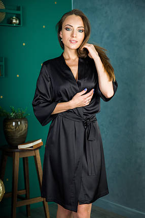 Халат шелковый черный, фото 2