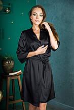 Халат шелковый черный 46 размер