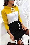 Женское платье в спортивном стиле трехцветное с карманами (в расцветках), фото 3