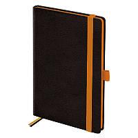 Еженедельник недатированный в линию Brunnen Смарт Strong, 12.5 x 19.5 см, чёрный с оранжевым срезом